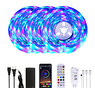 abordables -Mashang 15 m (3 * 5 m) rgb led bandes lumineuses musique sync smart led lumières tiktok lumières 900leds smd 2835 changement de couleur avec 24 touches télécommande bluetooth contrôleur pour la maison