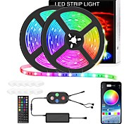 economico -Strisce led 10m smart rgb striscia luminosa led music sync 600leds cambia colore strisce luminose bluetooth app control con telecomando per camera da letto tv camera da letto per feste tv