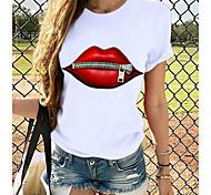 economico -Per donna maglietta Stampe astratte Rotonda Top 100% cotone Top basic Panda Farfalla Gatto