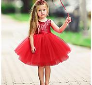 abordables -Enfants Bébé Petit Robe Fille Couleur Pleine Noël Noir Rouge Rose Claire Sans Manches Actif basique Robes