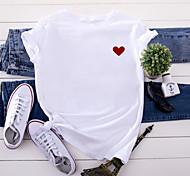 economico -Per donna maglietta Farfalla Stampe astratte Con stampe Rotonda Top 100% cotone Essenziale Top basic Bianco Nero Giallo