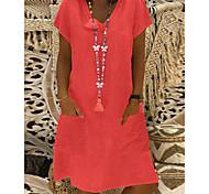economico -Per donna Vestito a trapezio Mini abito corto Nero Giallo Rosa Verde chiaro Azzurro Manica corta Altro Estate A V Essenziale caldo 2021 M L XL XXL 3XL 4XL 5XL / Taglie forti
