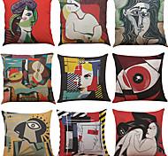 abordables -1 lot de 9 pièces couvre-oreiller en lin Art Print décoratif taie d'oreiller taie de coussin pour chambre chambre canapé chaise voiture, 18 x 18 pouces