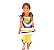 economico -Bambino (1-4 anni) Da ragazza Completo A strisce Tinta unita Manica corta Con stampe Quotidiano Per eventi Giallo Attivo Standard