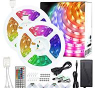 abordables -ZDM 50ft 2x7.5m Non-étanche 5050 RVB LED couleur bandes lumineuses avec 44 touches IR double sortie télécommande et adaptateur Kit de bande lumineuse DC12V