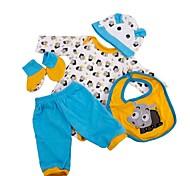 abordables -Vêtements de poupées Reborn Baby Accessoires de poupée Reborn Tissu en Coton pour poupée Reborn de 22 à 24 pouces Poupée Reborn Non Incluse Taureau Doux Pur fait main Garçon 5 pcs