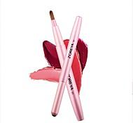 abordables -Brosse à lèvres rétractable portable en fibre de rayonne Brosse à rouge à lèvres Tête de brosse plate Poils doux et doux pour la peau