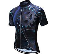 abordables -21Grams Homme Manches Courtes Maillot Velo Cyclisme Bleu et Noir Cyclisme Maillot Sommet VTT Vélo tout terrain Vélo Route Evacuation de l'humidité Limite les Bactéries Des sports Vêtement Tenue