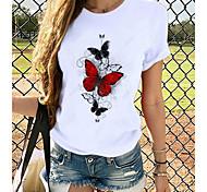 abordables -Femme T-shirt Quotidien Manches Courtes Papillon Imprimés Photos Col Rond Hauts Mince Haut de base 100% Coton Blanche