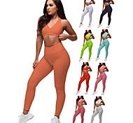 economico -Per donna 2 pezzi Tuta Da Ginnastica Tuta da yoga Sollevamento del culo arricciato Bianco Nero Rosso Elastene Fitness Allenamento in palestra Corsa Vita alta Ghette Buon top Sport Abbigliamento
