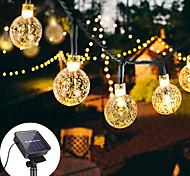 abordables -guirlande lumineuse solaire 12m 100led boule de cristal lampe à bulles guirlandes de fées guirlandes extérieures 8 fonction extérieure étanche pour la pelouse de jardin de mariage décoration de noël