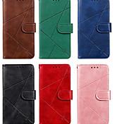 abordables -téléphone Coque Pour Apple Coque Intégrale Étui en cuir Etui folio iPhone 11 Pro Max SE 2020 X XR XS Max 8 7 6 Porte Carte Clapet Magnétique Lignes / Vagues Couleur Pleine Formes Géométriques faux