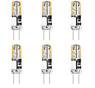abordables -6pcs 3 W 24 LED Gel de silice Maïs Lumières LED Bi-broches Lumières G4 3014smd LED Parti Créatif Décoratif Lustre En Cristal Source de Lumière Ampoules À Économie D'énergie Blanc Chaud Blanc AC / DC12