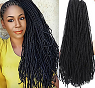 abordables -Dreadlocks Faux Locs Soeur Locs Box Braids Nature Noir Cheveux Synthétiques 16 pouce Moyen Rajouts de Tresses 80 racines / paquet