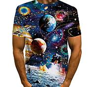 abordables -Homme T-shirt 3D effet Galaxie Graphique Grandes Tailles Imprimé Manches Courtes Quotidien Hauts basique Exagéré Noir Bleu Rouge
