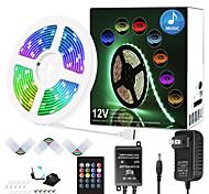 abordables -Bande lumineuse multicolore joyeuse synchrone musicale zdm 7.5m avec kit de bande lumineuse à LED 5050 sensible à distance à 20 touches et adaptateur DC12V