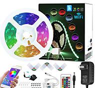 economico -zdm 7.5m wifi app controllato musica sincronizzazione colore cambia rgb led strisce luminose con 24-key mic incorporato 5050 rgb kit striscia led led dc12v