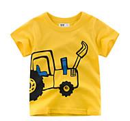 economico -Bambino Da ragazzo maglietta T-shirt Manica corta Fantasia geometrica Giallo Cotone Bambini Top Estate Moda città