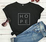 economico -Per donna maglietta Pop art Testo Stampe astratte Con stampe Rotonda Top 100% cotone Essenziale Top basic Bianco Nero Viola