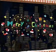 abordables -joyeux noël autocollants en verre coloré autocollants muraux décoratifs pour la décoration de noël, décoration de la maison pvc sticker mural décoration murale / amovible 30 * 90 cm