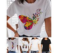economico -Per donna maglietta Arcobaleno Farfalla Con cuori Con stampe Rotonda Top 100% cotone Essenziale Top basic Farfalla Bianco Nero