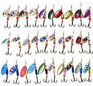 abordables -30 pcs leurres souples Spinnerbaits Couleurs aléatoires Affaissement rapide Bass Truite Brochet Pêche en mer Pêche d'appât Pêche de la carpe