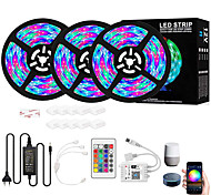 abordables -bande led rgb 900 leds contrôle intelligent de l'application de gradation lumières de bande led flexibles 15m (3 * 5m) 2835 contrôleur rgb smd ir 24 touches avec kit adaptateur 12v 4a