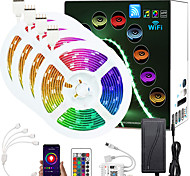abordables -65.6ft (4x5m) App Contrôle Intelligent LED Bande Intelligente Lumières IR Contrôleur WiFi 24 Touches 5050 RGB LED Bande Lumineuse Douce avec Kit Adaptateur DC12V