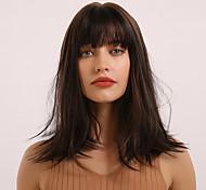 abordables -Perruque Synthétique Franges Droite naturelle Partie latérale Coupe Droite Avec Frange Perruque Longueur moyenne Marron Cheveux Synthétiques 18 pouce Femme Cosplay Homme Synthétique Marron BLONDE