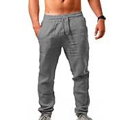 abordables -Sportif Homme Extérieur Des sports Joggings Quotidien Vacances Pantalon Toute la longueur Couleur Pleine Cordon Blanche Noir Bleu Marron clair Kaki