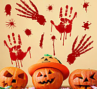 abordables -Jouets de fête d'Halloween Autocollant de fenêtre Stickers muraux 2 pcs Empreinte de main de sang Sottises PVC Enfant Adultes Accessoires de fête d'Halloween