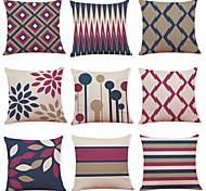 abordables -1 lot de 9 pièces série de géométrie moderne décoratif lin housse de coussin maison canapé décoratif