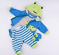 abordables -Vêtements de poupées Reborn Baby Accessoires de poupée Reborn Tissu en Coton pour poupée Reborn 17-18 pouces Poupée Reborn Non Incluse Grenouille Doux Pur fait main Garçon 4 pcs