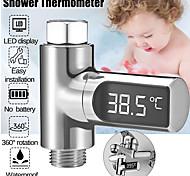 abordables -mètre numérique de température de l'eau led pomme de douche 0-100 thermomètre température durabl - argent