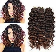 abordables -Crochet Hair Braids Ondulation profonde Box Braids Blond Bourgogne Auburn Cheveux Synthétiques 14 pouce Rajouts de Tresses 3pcs / pack