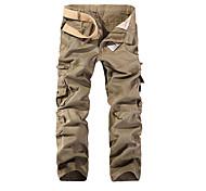 economico -Per uomo Essenziale Quotidiano Carico tattico Pantaloni Tinta unita Lunghezza intera Collage Nero Verde militare Cachi Grigio