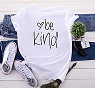 economico -Per donna Sii gentile maglietta Pop art Testo Alfabetico Con stampe Rotonda Top 100% cotone Essenziale Top basic Bianco Giallo Rosa