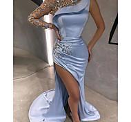 abordables -Trompette / Sirène Luxueux Sexy Fiançailles robe ceremonie Robe Cou d'illusion Manches Longues Traîne Brosse Satin avec Billes Fendue Appliques 2021