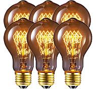economico -6 pz / 4 pezzi 40 W E26 / E27 A60(A19) Bianco caldo 2200-2800 k Retrò / Oscurabile / Decorativo Lampadina a incandescenza vintage Edison 220-240 V