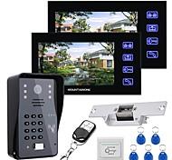 abordables -Mountainone 7 lcd deux moniteurs portier vidéo système d'interphone rfid kit de contrôle d'accès de porte caméra extérieure verrouillage électrique gâche télécommande sans fil
