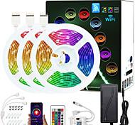 abordables -ZDM amélioré 50ft (3 * 5m) app contrôle intelligent LED bandes lumineuses IR 24 touches contrôleur WiFi 5050 RVB étanche LED bande de lumière douce avec kit d'adaptateur DC12V