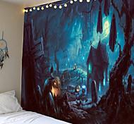 abordables -tapisserie halloween thriller citrouille maison hantée fantôme décoration décoration murale tenture couette grande nappe décoration de fête