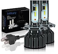 abordables -2 pcs Infitary H4 H7 LED Ampoules De Phare De Voiture ZES Puces 14000lm 6500K 4500K H1 H3 H7 H11 9005 9006 Auto Feux De Brouillard