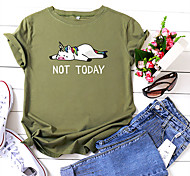 economico -Per donna maglietta Cartoni animati Pop art Testo Con stampe Rotonda Top 100% cotone Essenziale Top basic Nero Giallo Rosa