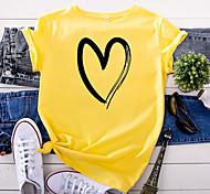 economico -Per donna maglietta Farfalla Astratto Con stampe Rotonda Top 100% cotone Essenziale Top di base Bianco Giallo Rosa