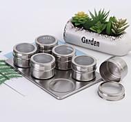 abordables -ensemble de pots d'épices magnétiques et outils de pulvérisation d'assaisonnement au poivre en acier inoxydable avec couvercle et base visibles