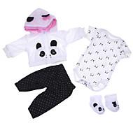 abordables -Vêtements de poupées Reborn Baby Accessoires de poupée Reborn Tissu en Coton pour poupée Reborn 17-18 pouces Poupée Reborn Non Incluse Panda Doux Pur fait main Fille 4 pcs