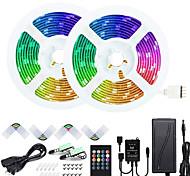 abordables -ZDM 50ft 2 * 7.5m Musique Synchrone Happy Multicolor Light Strip 5050 RVB LED Bande lumineuse flexible avec contrôleur à 20 touches IR en option et kit d'adaptateur DC12V