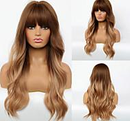 abordables -Perruque Synthétique Ondulation naturelle Coupe Droite Perruque Longue Cheveux Synthétiques 24 pouce Femme Design à la mode Homme Dégradé de Couleur Blond