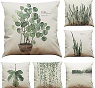abordables -1 lot de 6 pièces série botanique décoratif lin taie d'oreiller housse de coussin canapé à la maison décoratif